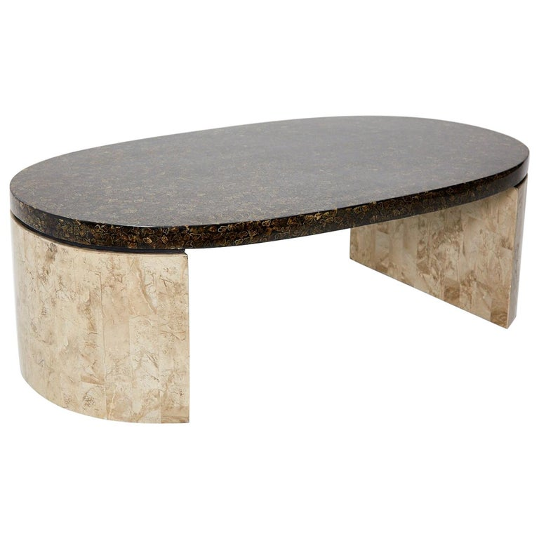 Stone Base Coffee Table.Oval Coffee Table With Natural Inlay Top And Tessellated Stone Base 1990s