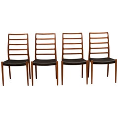 Set of Four Teak Møller No. 82 Dining Chairs