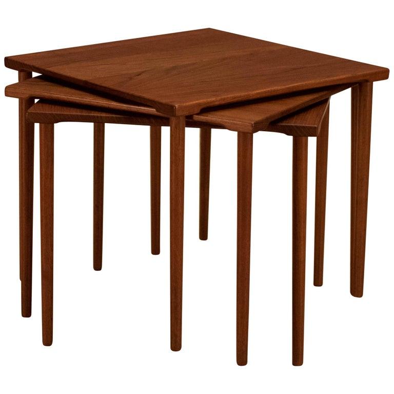 Danish Stacking Teak End Tables by France & Daverkosen For Sale
