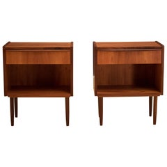 Vintage Danish Pair of Teak Nightstands