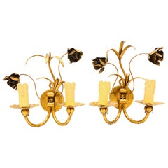 Italian Roses Two-Light Pair of Tole Sconces Gilded Metal, European, 1960s