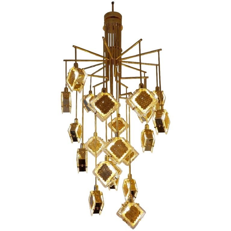 Italian Brass and Glass Long Chandelier For Sale
