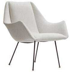 Brazilian Midcentury Lounge Chair by Carlo Hauner in Ivory Linen Blend Fabric
