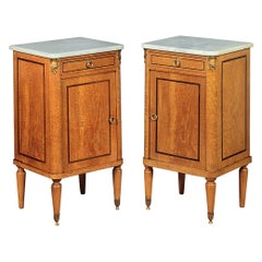 Fine Pair of Marble Topped Bedside Cabinets, circa 1900