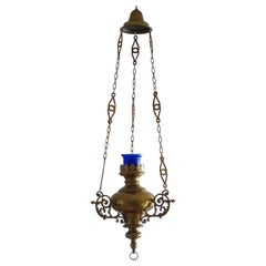 19th Century Spanish Colonial Style Brass Hanging Sanctuary Lamp, Church Pendant