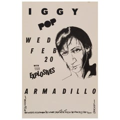 Iggy Pop Original Vintage Concert Poster, Austin, Texas, 1980