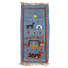 Blue Vintage Persian Souf Pictorial Kilim