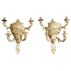 Pair of Late 19th Century Painted Tole Maison Baguès Wall Lights