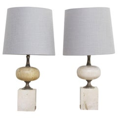Pair of 1970s Chrome and Travertine Table Lights by Philippe Barbier