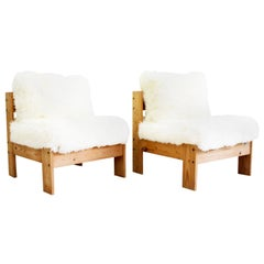 Pair of French 1970s Bleached Pine Lounger Chairs with Sheepskin Upholstery