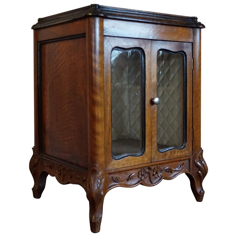 Marvelous 19th Century Handcrafted Louis Quinze Style Nutwood Miniature Cabinet For Sale