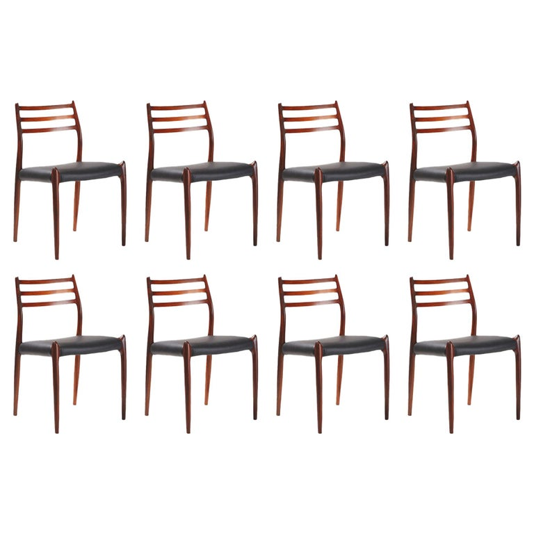 Niels O. Møller Model 78 Rosewood Dining Chairs, 1962 For Sale