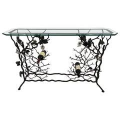 Unique Giacometti Style Iron Grapevine Motif Console Table and Wine Rack