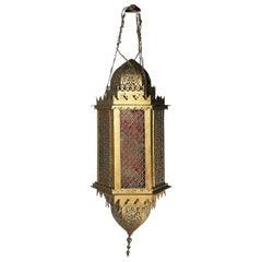 Old Flemish Lantern Brass Inspired Moorish, 19th Century