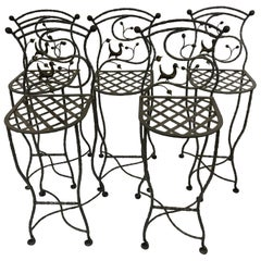 Set of 5 Whimsical Giacometti Style Hand Forged Iron Counter Stools