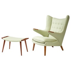 Peachy Early Papa Bear Chair And Ottoman By Hans Wegner For A P Ibusinesslaw Wood Chair Design Ideas Ibusinesslaworg