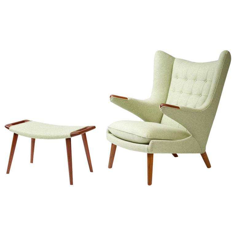 Hans Wegner AP-19 Papa Bear Chair and Ottoman, Teak For Sale