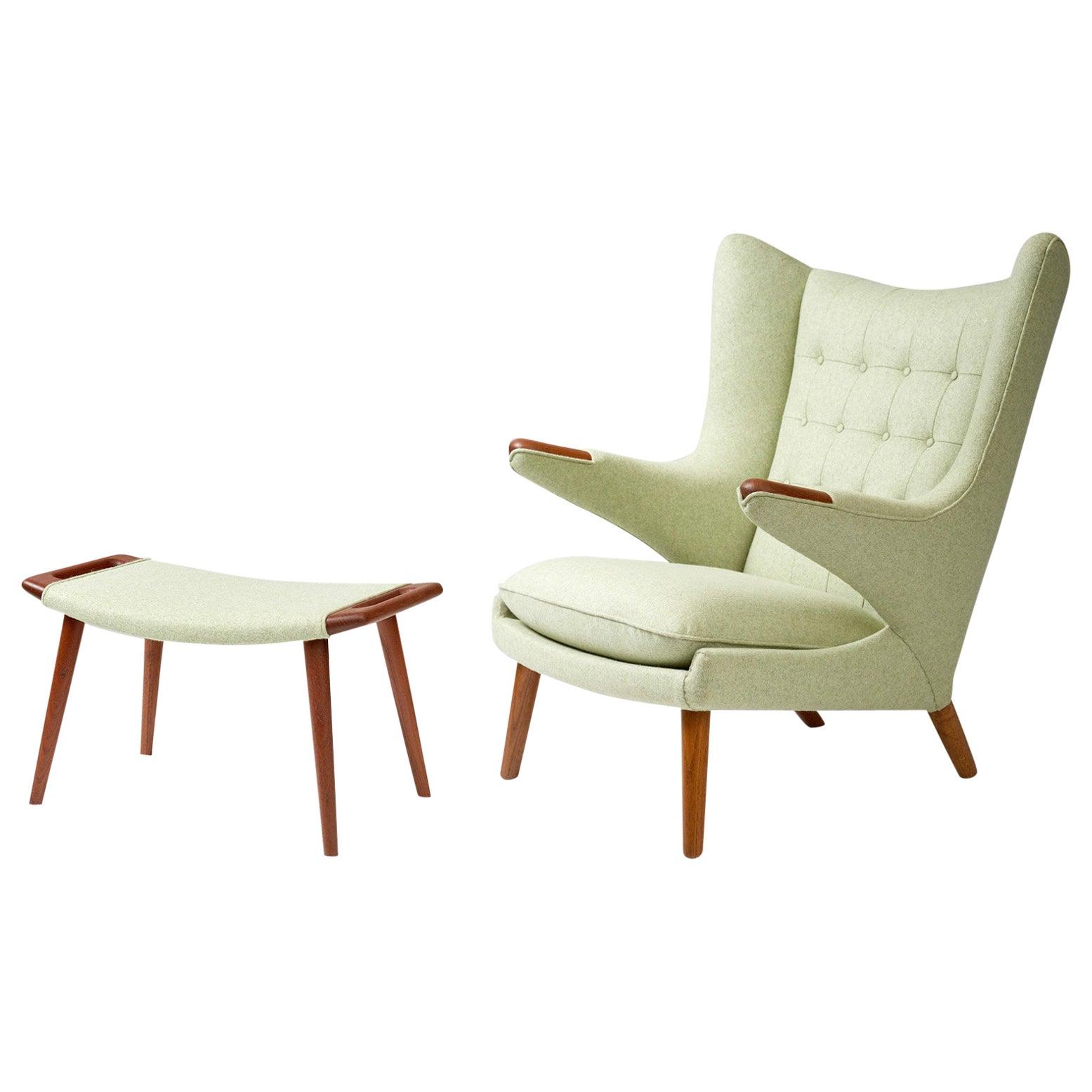 Hans Wegner AP-19 Papa Bear Chair and Ottoman, Teak