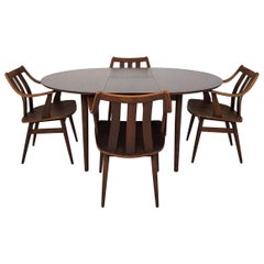 Rosewood Mid-Century Modern Set of Dining Table and Chairs, Dutch Design 1960s