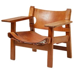 Børge Mogensen Spanish Chair, Oak and Leather, 1958