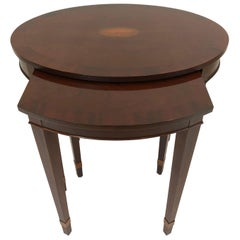 Beautiful Mahogany Oval Nesting Tables by Baker