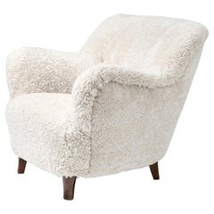 Elias Svedberg Swedish Sheepskin Lounge Chair, circa 1940s