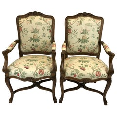 Pair of Regal Carved Fruitwood French Style Bergere Armchairs