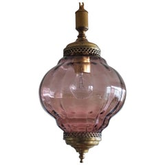 Midcentury Murano Colored Glass Globe and Brass Lantern, Pendant