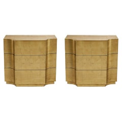 Vendôme, Set of Two Wood Nightstands Finished in Gold Leaf