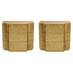 Vendôme Nightstands Handcrafted in Gold Leaf Finish, Set of 2