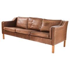 Borge Mogensen Style Danish Midcentury Leather Sofa