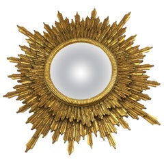 Glitzy and Impressively Large Italian Giltwood Sunburst Mirror