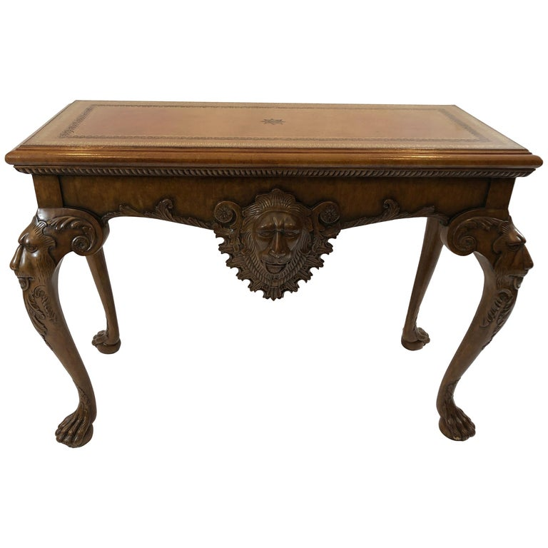 Masculine Lion And Leather Adorned Fruitwood Maitland Smith Console Table