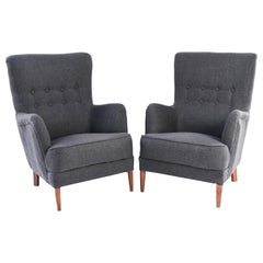 Pair of Frits Henningsen High Back Lounge Chairs