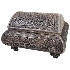 Antique Russian Sterling Silver Filigree Handmade Trinket Box Chest, 1850-1899