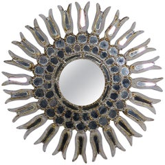 Italian Giltwood & Mirrored Sunburst Mirror, circa 1900