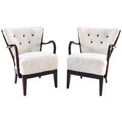 Pair of Slagelse Model 177 Lounge Chairs in Lamb's Wool
