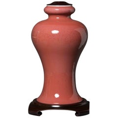Peach Red Glazed Vase Ceramic Chinese, 1900