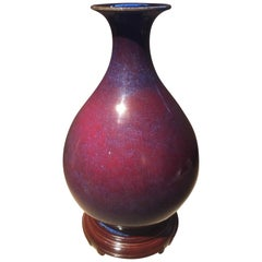 Purple Red Oxblood Glazed Vase with Mark on Bottom