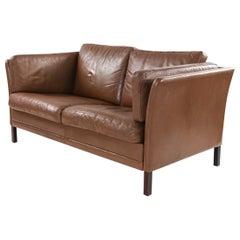 Danish Midcentury Leather Loveseat by Mogens Hansen
