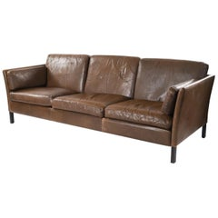 Danish Midcentury Three-Seat Leather Sofa by Mogens Hansen