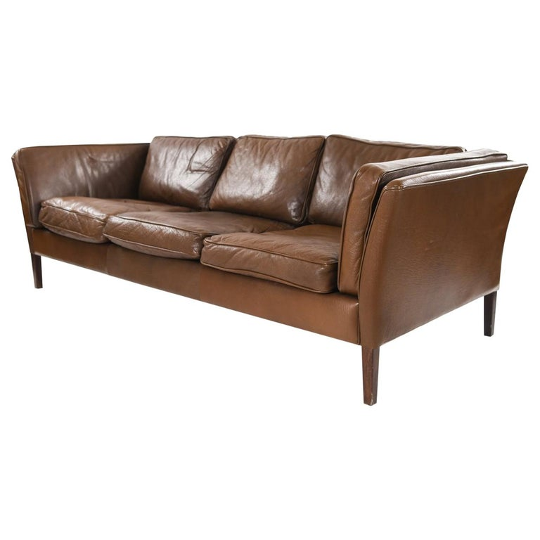 Danish Midcentury Leather Sofa by Mogens Hansen