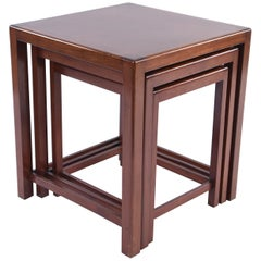Set of Three Mahogany Nesting Tables by Fritz Hansen