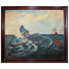 19th Century Oil Painting Capturing a Sperm Whale