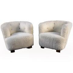 Viggo Boesen Pair of Lounge Chairs by Slagelse Mobelvaerk