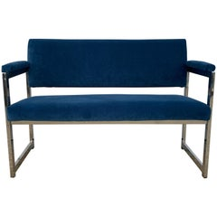 1970s Milo Baughman Chrome Settee in Blue Velvet