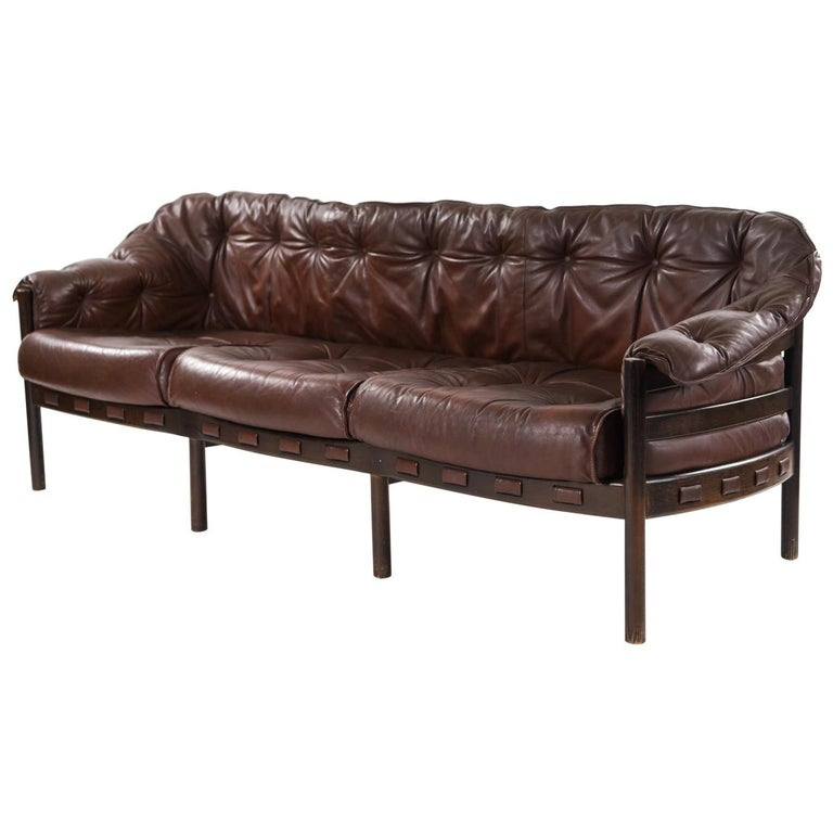 Midcentury Leather 3-Seater Sofa by Arne Norell for Coja For Sale at ...