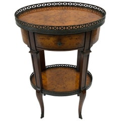 Sophisticated Burlwood Two-Tier Oval Side Table with Brass Gallery