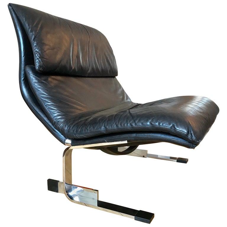 Saporiti Italia Leather Lounge Chair, 1970s For Sale