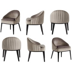 Oppède Dining Chair in Silver Grey Velvet, Set of Six